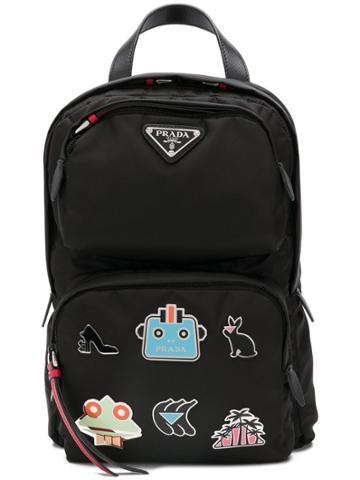 Prada Patches Backpack - Black