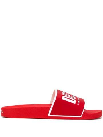 Diesel Contrast Logo Pool Slides - Red