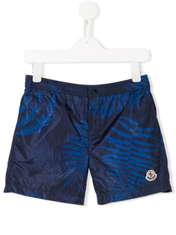 Moncler Kids Leaf Patterned Swim Shorts, Boy's, Size: 12 Yrs, Blue