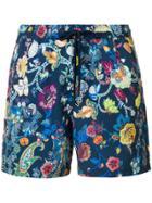 Etro Bañador Floral Swim Shorts - Blue