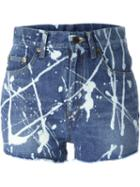 Saint Laurent Paint Splash Denim Shorts