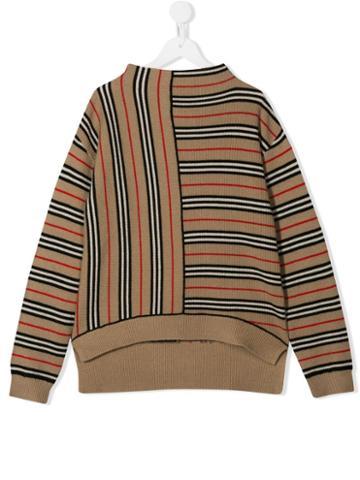Burberry Kids Teen Icon Stripe Sweater - Brown