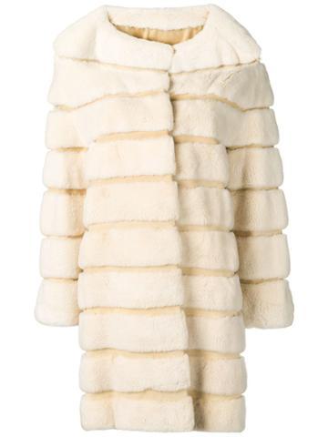 Liska Ninette Fur Trimmed Coat - Neutrals