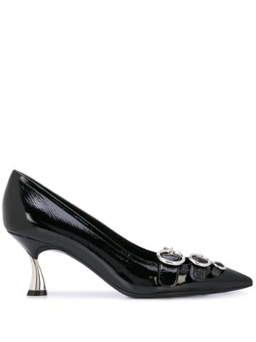 Casadei K Blade Taylor Buckled Pumps - Black