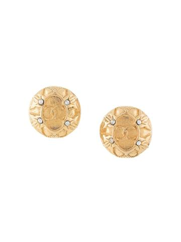 Chanel Pre-owned Cc Rhinestone Earrings - Gold
