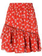 Ganni Floral Ruffled Skirt - Red