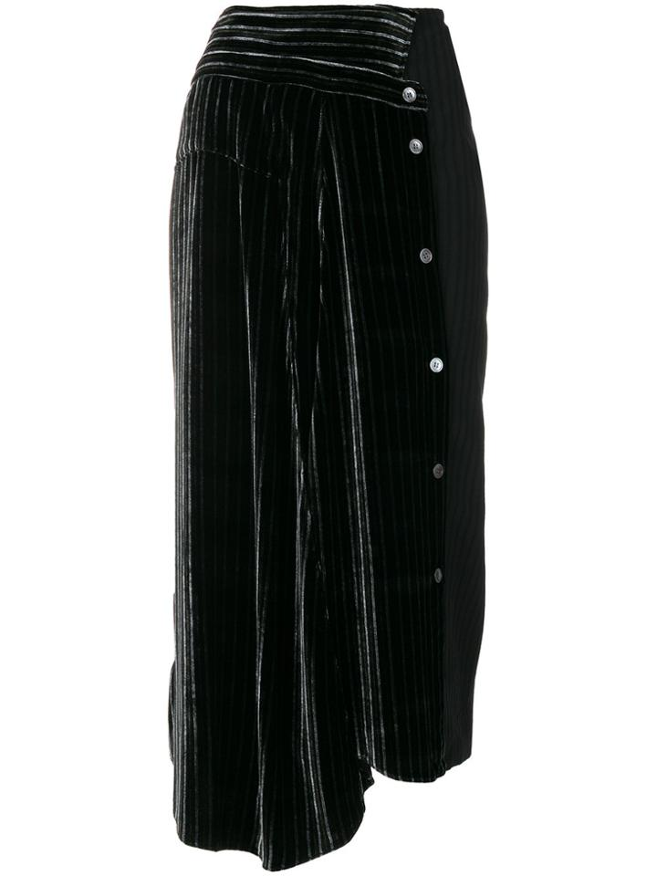 Aalto Asymmetric Striped Midi Skirt - Black