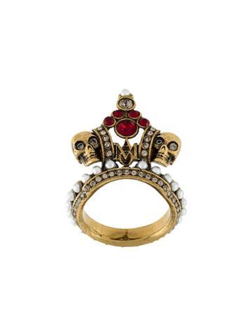 Alexander Mcqueen Crown Skull Ring, Women's, Size: 6 1/2, Metallic