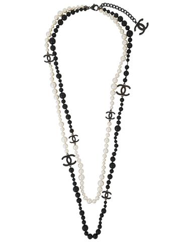 Chanel Vintage Logo Layered Long Necklace - Black