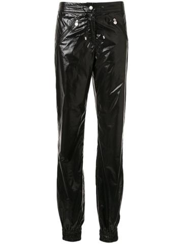 Chanel Pre-owned Glossy Effect Drawstring Trousers - Black