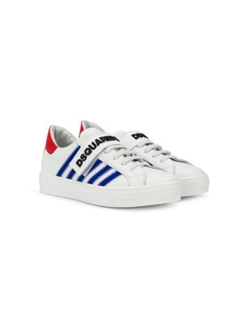 Dsquared2 Kids Teen Diagonal Stripe Sneakers - White