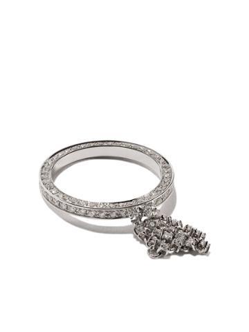 Maison Dauphin 18kt White Gold Full Pave Diamond Fluid Captured Ring -