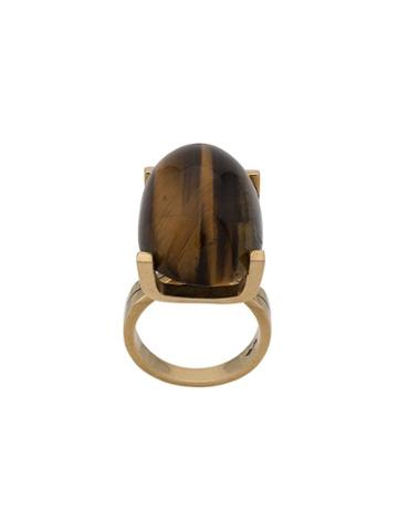 Katheleys Pre-owned Oval Stone Ring - Gold/tiger Eye