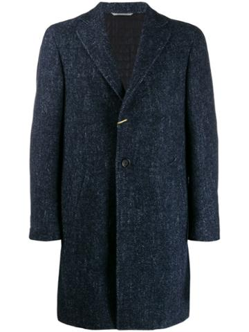 Canali Herringbone Wool Coat - Blue