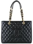 Chanel Vintage Quilted Cc Chain Tote Bag, Women's, Black