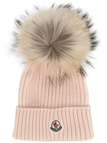 Moncler Kids Classic Knitted Beanie Hat - Pink & Purple