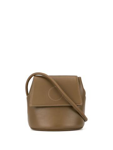 Modern Weaving Foldover Top Bucket Bag - Brown
