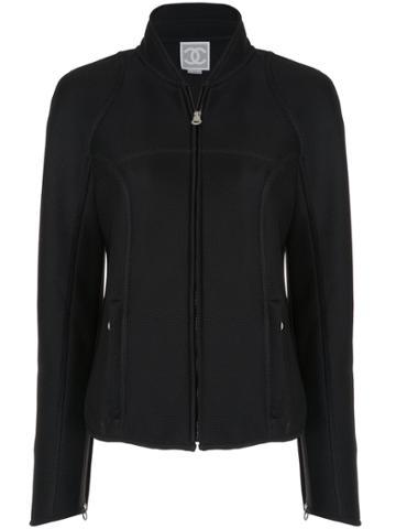 Chanel Vintage Branded Arms Zipped Jacket - Black