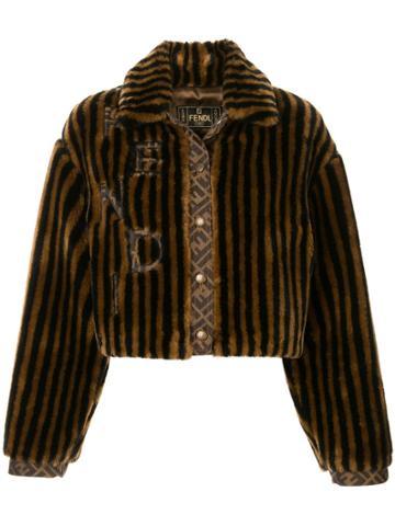 Fendi Pre-owned Striped Faux Fur Jacket - Black