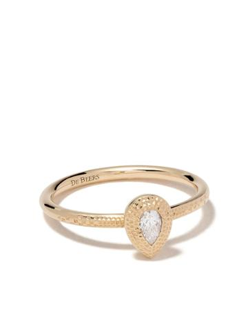 De Beers 18kt Yellow Gold Talisman Pear-shaped Diamond Ring