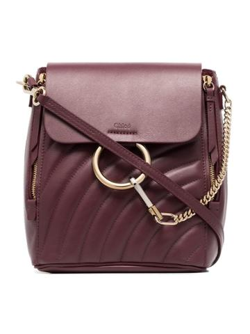 Chloé Burnt Brown Faye Small Quilted Leather Backpack - Red