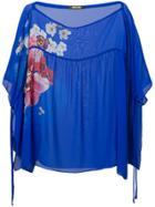 Roberto Cavalli Floral Print Sheer Blouse - Blue