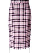 Msgm Checked Tweed Midi Skirt