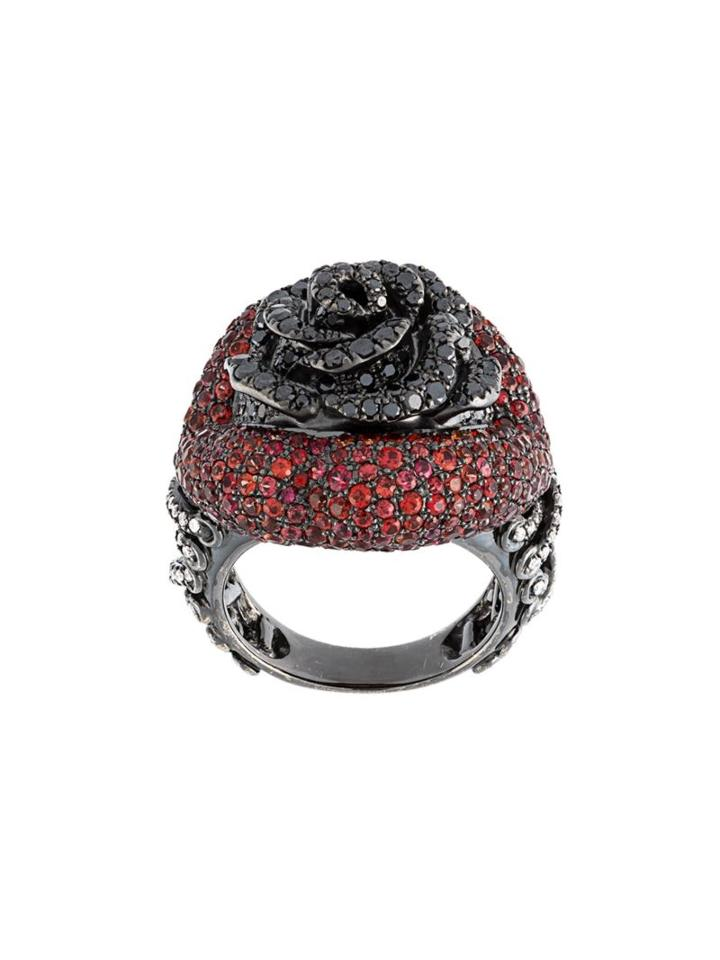 Lydia Courteille Rose Diamond And Sapphire Ring