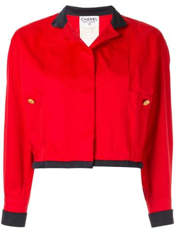 Chanel Vintage Long Sleeve Cotton Jacket - Red