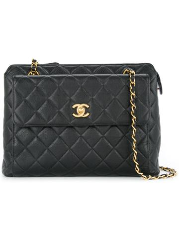 Chanel Vintage Caviar Leather Shoulder Bag - Black
