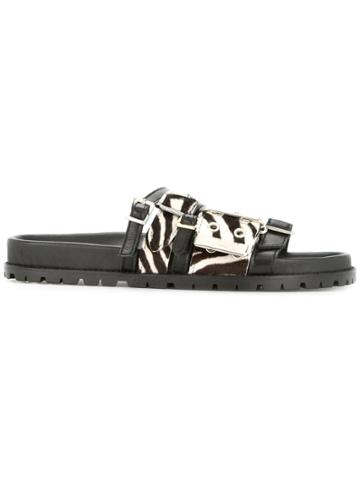 Sacai Zebra Print Strappy Slides - Black