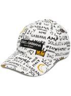 Dolce & Gabbana Graffiti Print Baseball Cap - White