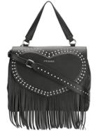 Twin-set Fringe Detail Studded Shoulder Bag - Black
