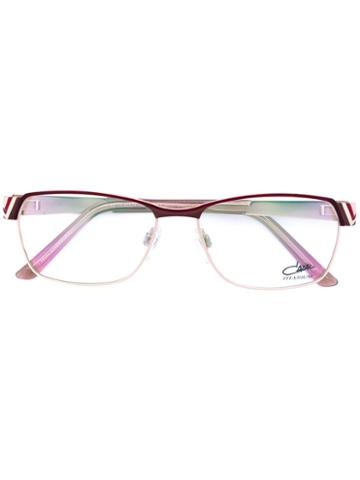 Cazal - Enamelled Rectangle Frame Glasses - Women - Titanium/acetate - 53, Pink/purple, Titanium/acetate
