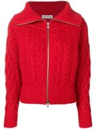 Self-portrait Chunky Cable Knit Cardigan - Red
