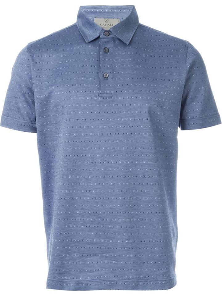 Canali Diamond Pattern Polo Shirt