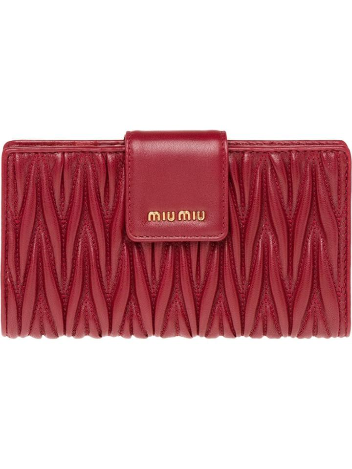 Miu Miu Matelassé Wallet - Red
