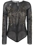 Amen Embellished Sheer Bodysuit - Black
