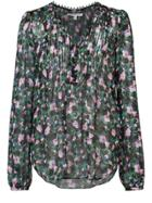 Veronica Beard Floral Print Sheer Blouse - Black