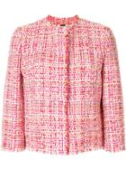 Alexander Mcqueen Cropped Tweed Jacket - Red