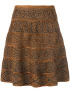 D.exterior Patterned Flare Skirt - Brown