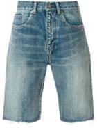 Saint Laurent Frayed Denim Shorts - Blue