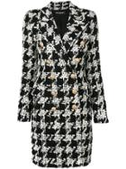 Balmain Houndstooth Tweed Coat - Black