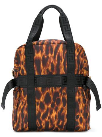 Versace Leopard Backpack Tote - Black