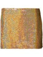 Ashish - Sequin Mini Skirt - Women - Silk - S, Yellow/orange, Silk
