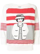 Chanel Pre-owned Mademoiselle Print Striped Sweatshirt - Blue