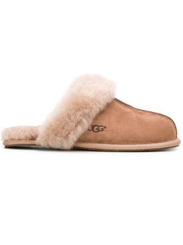 Ugg Australia Fur Trimmed Slides - Brown