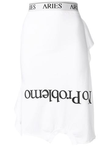Aries Slogan Midi Skirt - White