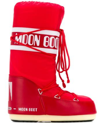 Moon Boot Logo Print Snow Boots - Red