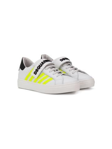 Dsquared2 Kids Teen Neon Stripe Sneakers - White
